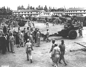 Fort Custer Training Center - Image: 184th field artillery fort custer 194106