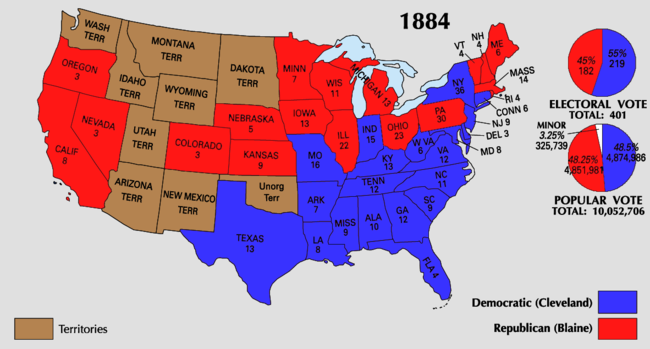 United States Presidential Election Wikipedia - Us map 1884
