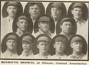 Gus Williams (outfielder) - Williams (labeled 2) was a member of the 1910 Monmouth Browns.