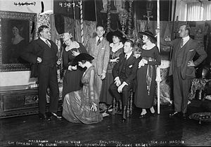 National Red Cross Pageant - Rehearsals. actors rehearsing for their role in the pageant as well as the film. left to right: Guy Favieres, Mrs. Ben Ali Haggin(Helen Roche-Haggin), Ina Claire(kneeling), Clifton Webb, Ivy Troutman, Eugene O'Brien, Jeanne Eagels, Ben Ali Haggin.
