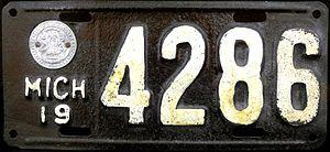 Vehicle registration plates of Michigan - Image: 1919 Michigan Licence Plate