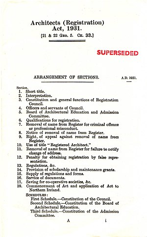 Registration of architects in the United Kingdom - Architects (Registration) Act, 1931