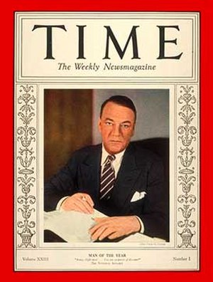 National Industrial Recovery Act of 1933 - Hugh S. Johnson, one of the primary authors of NIRA, was Time magazine's Man of the Year for 1933.