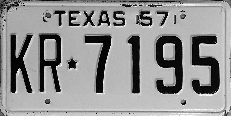 File:1957 Texas license plate.JPG