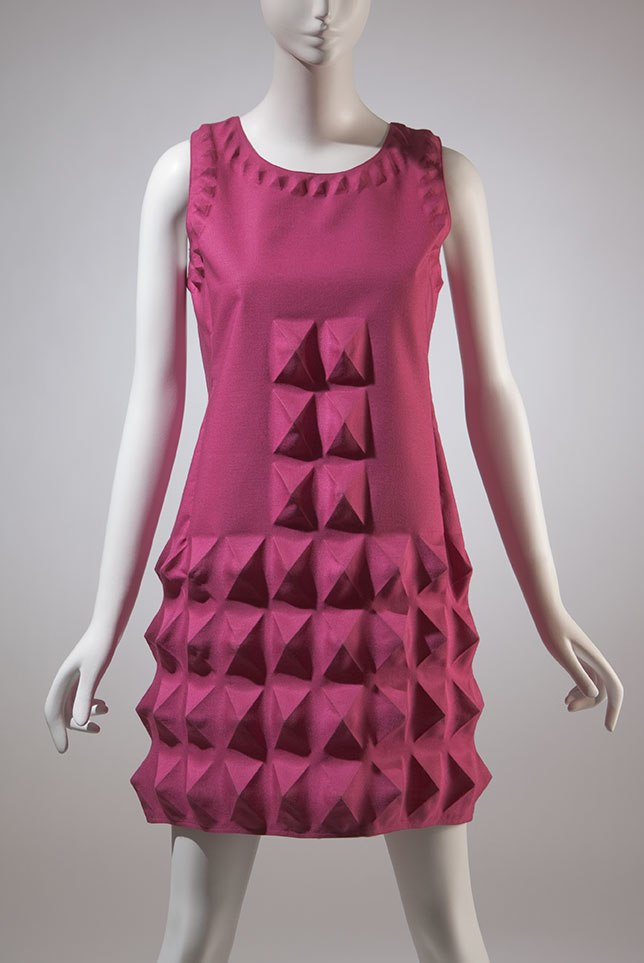 1968 Pierre Cardin dress, pink heat moulded Dynel