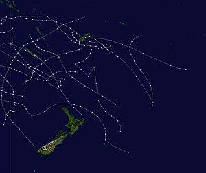 1973–74 South Pacific cyclone season - Image: 1973 1974 South Pacific cyclone season summary