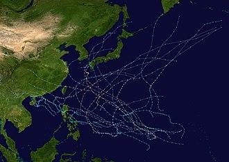 1976 Pacific typhoon season - Image: 1976 Pacific typhoon season summary