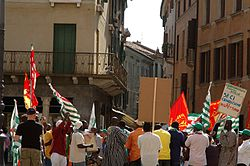 Demonstration by immigrants in Treviso, Italy