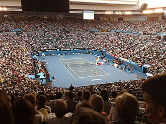 2008 Australian Open - The Rod Laver Arena with the new, blue Plexicushion surface.