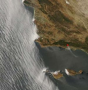 Gap Fire (2008) - NASA satellite photo of the fire.