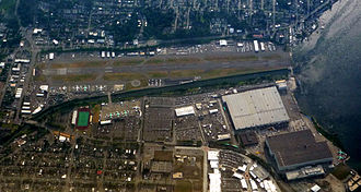Renton Municipal Airport - Aerial view showing airport and adjacent Boeing Renton Factory (large structures)