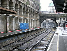 Stillgelegte Gleise der Widened Lines in der Station Barbican (2011)