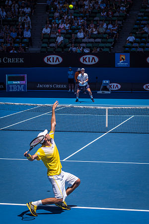 Guillaume Rufin - Rufin serves to Tomas Berdych at Rod Laver Arena during the 2013 Australian Open