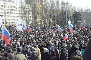 War in Donbass - Pro-Russian protesters in Donetsk, 9 March 2014