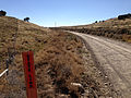 2014-10-20 13 36 55 Sign marking the state line at the east end of Goose Creek Road (Elko County Route 762) about 20.3 miles east of Little Goose Creek, crossing into Elko County, Nevada from Box Elder County, Utah.jpg
