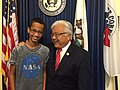 2015 US Congressman Mike Honda with student Ahmed Mohamed 02.jpg