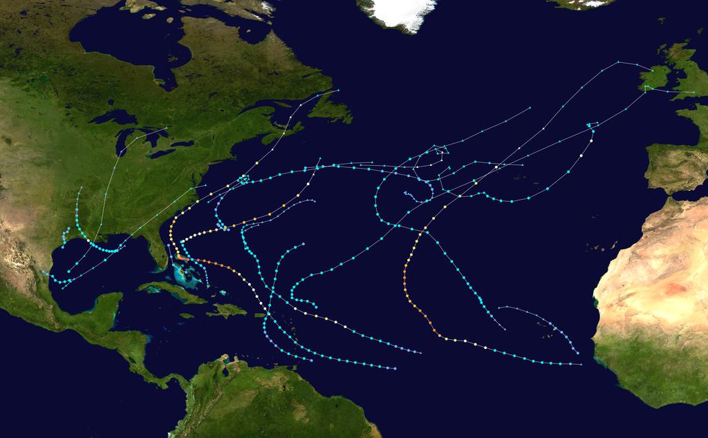 Фактическая ураганная активность в Атлантическом океане в 2019 году. Источник: Wikimedia Commons