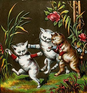 Three Little Kittens - The kittens playing in the garden, an illustration from 1874