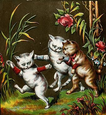 The kittens playing in the garden, an illustration from 1874 3 Kittens Playing in the Garden.jpg