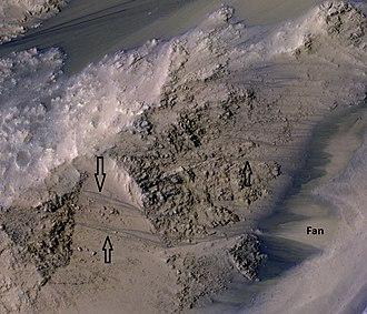 Coprates Chasma - Image: 49955 1665rslcolorarrows