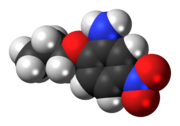 Space-filling model of the 5-nitro-2-propoxyaniline molecule