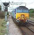 57 310 & 57 303 bring the Stowmarket-Clacton-Stowmarket RHTT working through Hythe station to a stop at Eastgates East Junction, before proceeding over the triangle towards Colchester North . Saturday 25th Oct 2014 - 15600895606.jpg