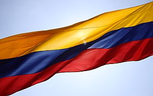 National symbols of Colombia - The flag of Colombia in Cartagena, Colombia.
