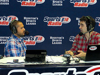 KILT (AM) - Shaun Bijani (left) and Paul Gallant airing live from a sports collectors show in Houston.