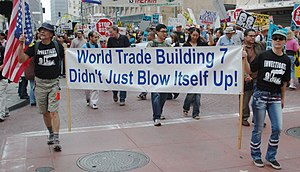 9/11 Truth movement - Supporters of the 9/11 Truth movement at an anti-war demonstration in Los Angeles, October 2007