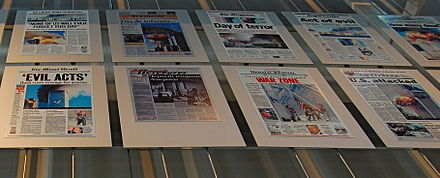 A panel in the Newseum in Washington, D.C., shows the September 12 headlines in America and around the world. 911-Panel.JPG