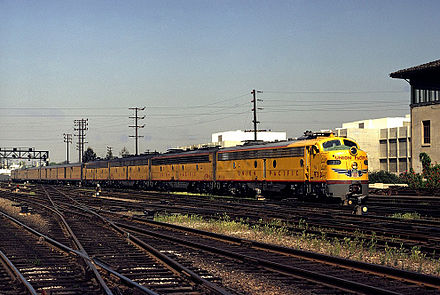UP #932, an EMD E8, leads the City of Los Angeles into Union Station in Los Angeles in March 1971, just prior to discontinuation 932 arr laupt - Flickr - drewj1946.jpg