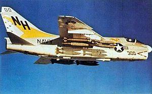 "VFA-192 - VA-192 A-7E ""CAG-bird"" over Vietnam, 1971. This A-7 was destroyed on 2 November 1972"