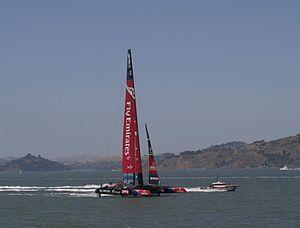 Team New Zealand - Emirates Team New Zealand's AC72 Aotearoa in San Francisco Bay