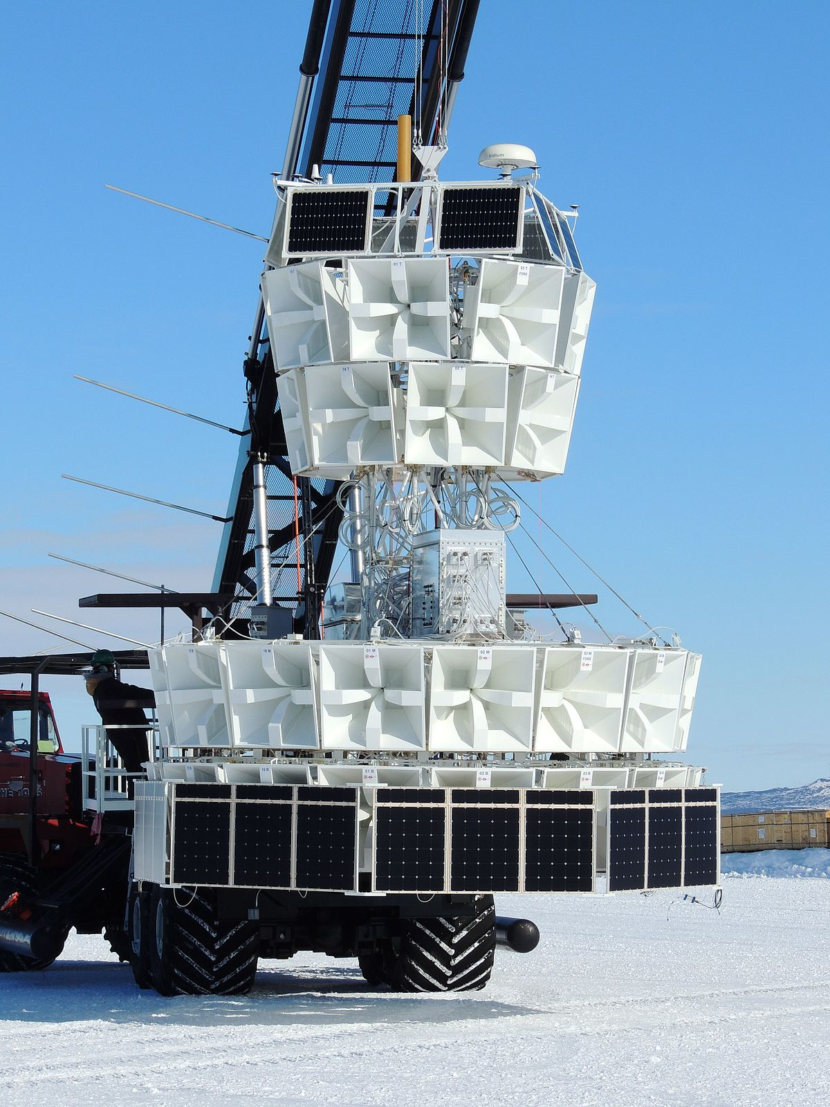 The ANITA-IV experiment in Antarctica, prior to being launched on a balloon.