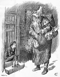 "1895 engraving of Father Christmas asking a ragged child ""Where's your stocking?"""