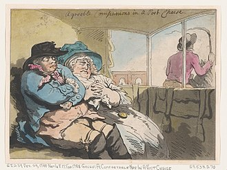 Post chaise - Agreeable companions in a post chaise — Thomas Rowlandson