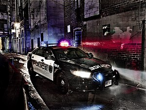 Hamilton Police Service - HPS Ford Police Interceptor Sedan on Patrol - see also Ford Taurus (sixth generation)
