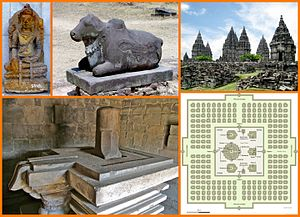 Shaivism - An image collage of 1st millennium CE Shaivism icons and temples from Southeast Asia (top left): Shiva in yoga pose, Nandi, Prambanan temple, Yoni-Linga and Hindu temple layout.