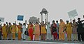 A formation of human chain at India Gate by the women from different walks of life at the launch of a National Campaign on prevention of violence against women, in New Delhi on October 02, 2009.jpg