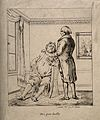 A poor doctor takes the pulse of a rich, corpulent patient; Wellcome V0011751.jpg