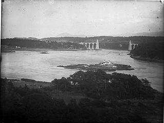 A view of Menai Bridge from Britannia Bridge