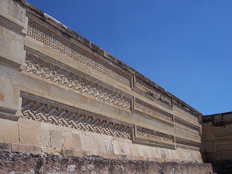 Mitla details in the main building, Mitla, Oaxaca, Mexico.