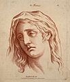 A woman whose face expresses sadness. Etching in the crayon Wellcome V0009337.jpg