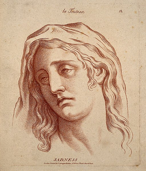 A woman whose face expresses sadness. Etching in the crayon Wellcome V0009337
