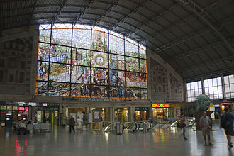 Bilbao-Abando railway station - Stained glass at the station's upper hall