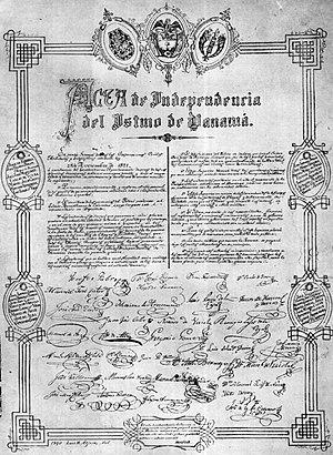 Independence Act of Panama - Acta independecia de Panamá 1821