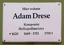 Gedenktafel Adam Drese in Jena, Romantikerhaus (Quelle: Wikimedia)