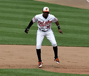 Adam Jones (baseball) - Adam Jones takes a lead off first base during a 2012 game vs. the Washington Nationals.