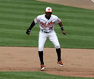 Adam Jones (baseball) - Adam Jones takes a lead off first base during a 2012 game vs. the Washington Nationals.