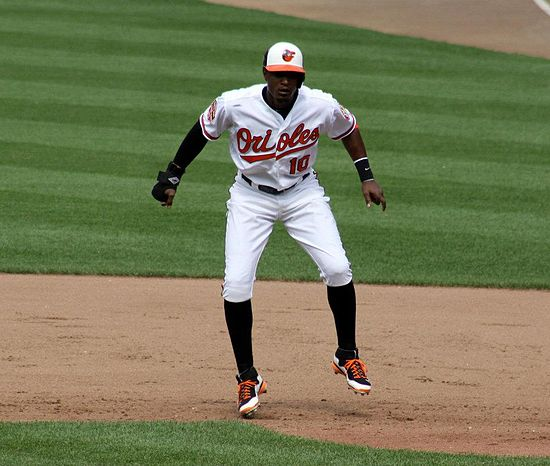 Adam Jones takes a lead off first base during a 2012 game vs. the Washington Nationals. Adam Jones 2012.jpg